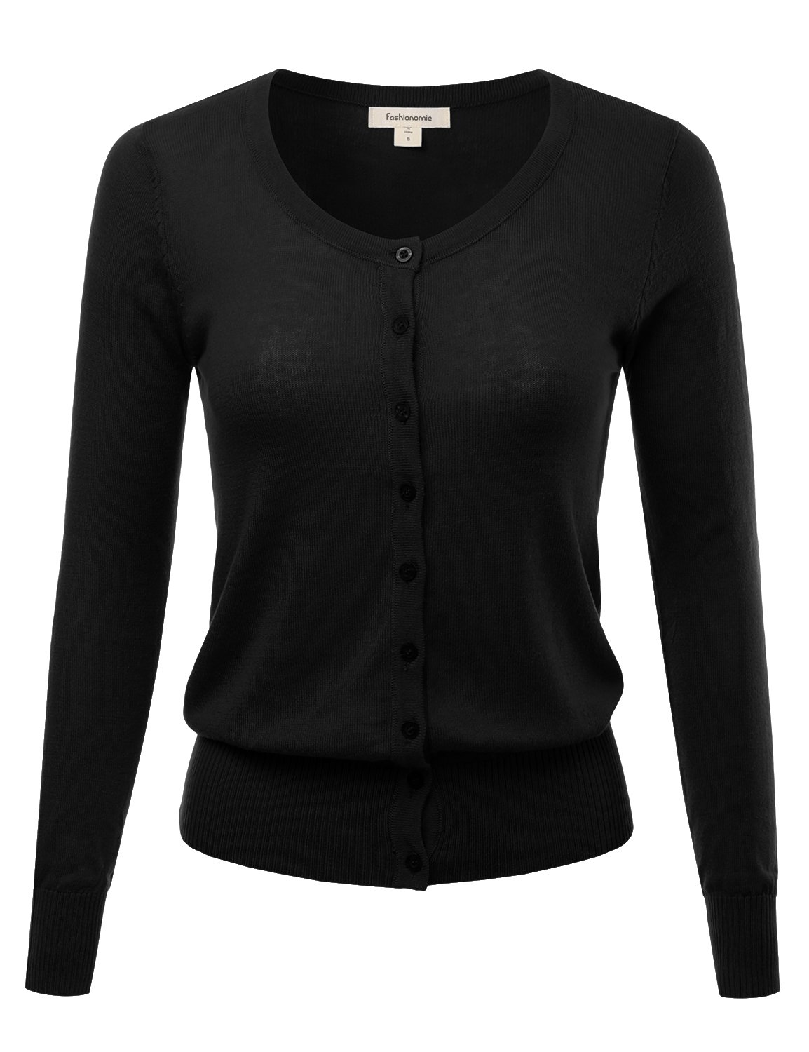 FASHIONOMIC Women's Button Down Crew Neck Light Weight Long Sleeve Knit Cardigan Sweater (S-75X) (CLLC001) Black 1X