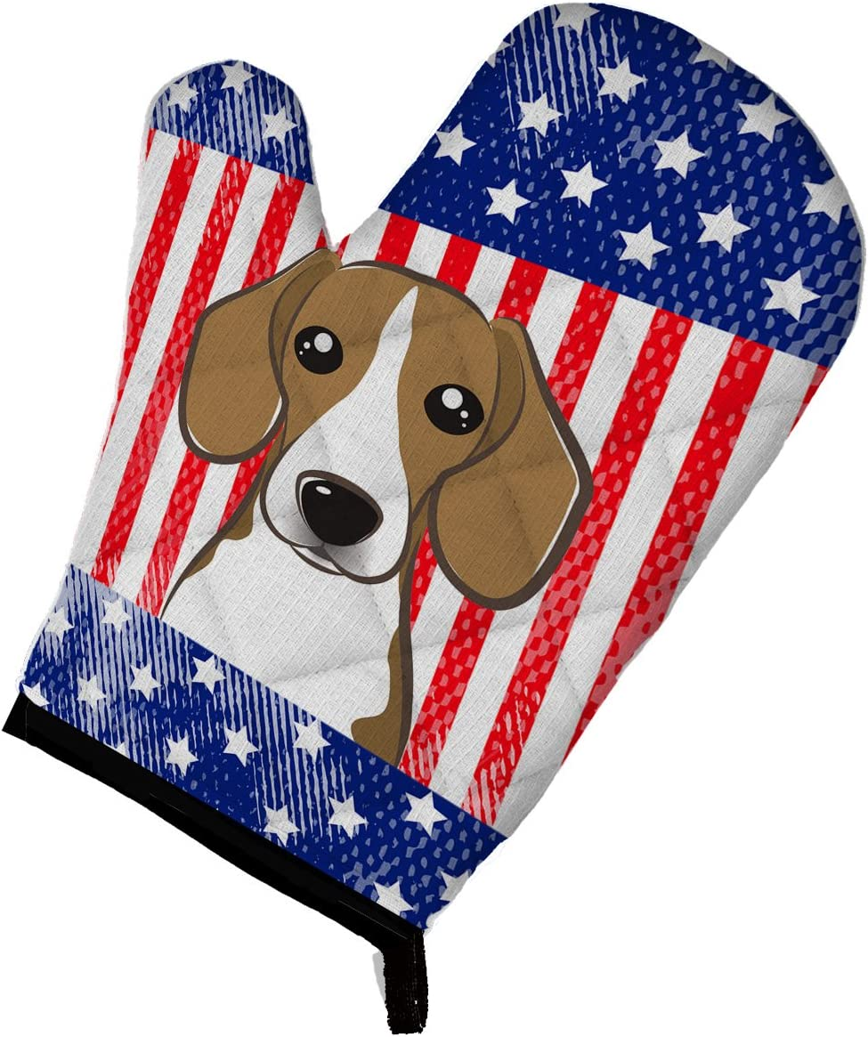 Caroline's Treasures BB2169OVMT American Flag and Beagle Oven Mitt, Large, multicolor