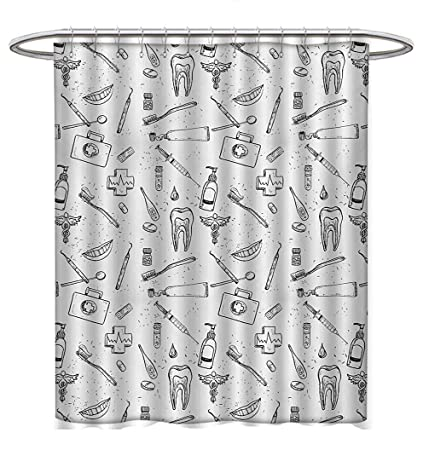 Anhuthree Doodle Shower Curtains Digital Printing Hand Drawn Style Medical Pattern With Dental Hygiene Theme Teeth
