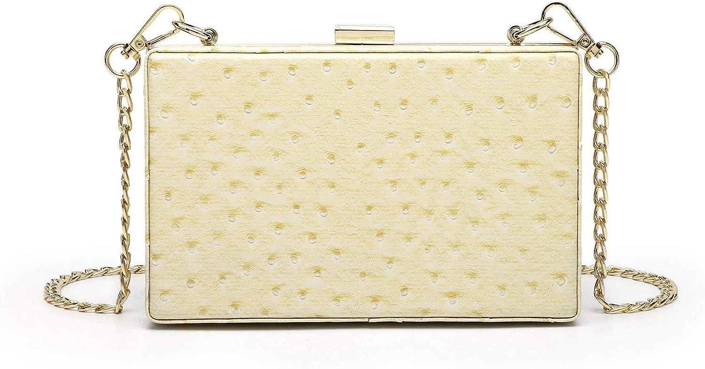 Women Ostrich Print Faux Leather Box Clutch Handbag Crossbody Pu