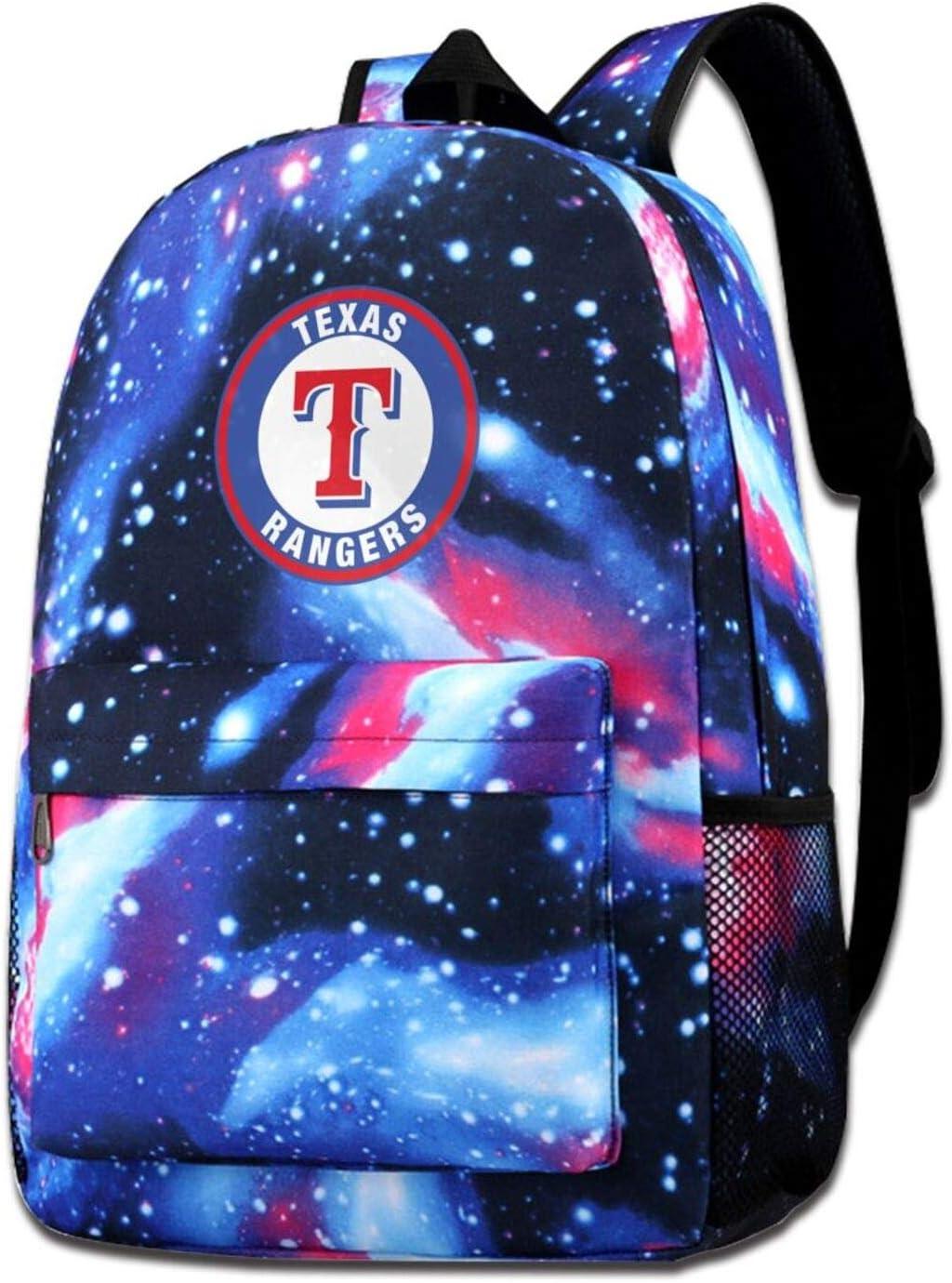 G-III Sports Texas Rangers Backpack Large Capacity Starry Sky School Bag Casual Daypack Shoulder Bag for Men Women Boys Girls Teen