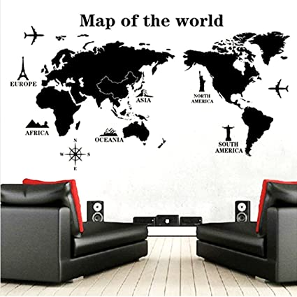 Map Of The World Decal.Amazon Com World Map I Map Of The World I Map Of World I Black