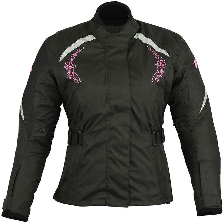 Negro con flor rosa XS Chaqueta de moto para mujer Chaqueta impermeable cordura de tela blindada para motocicleta