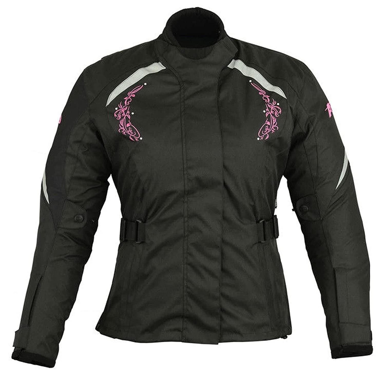 Black With White Flower Women Motorbike Jacket Ladies Motorcycle Armored Textile Cordura Waterproof Jacket Coat 4XL