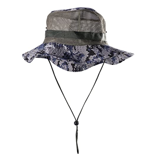 9f79244bade Amazon.com  Outdoor Mesh Sunshade Fisherman Fishing Hat Sun Cap Bucket Hat  with String Wide Brim Hat for Men (Blue with Mesh)  Clothing