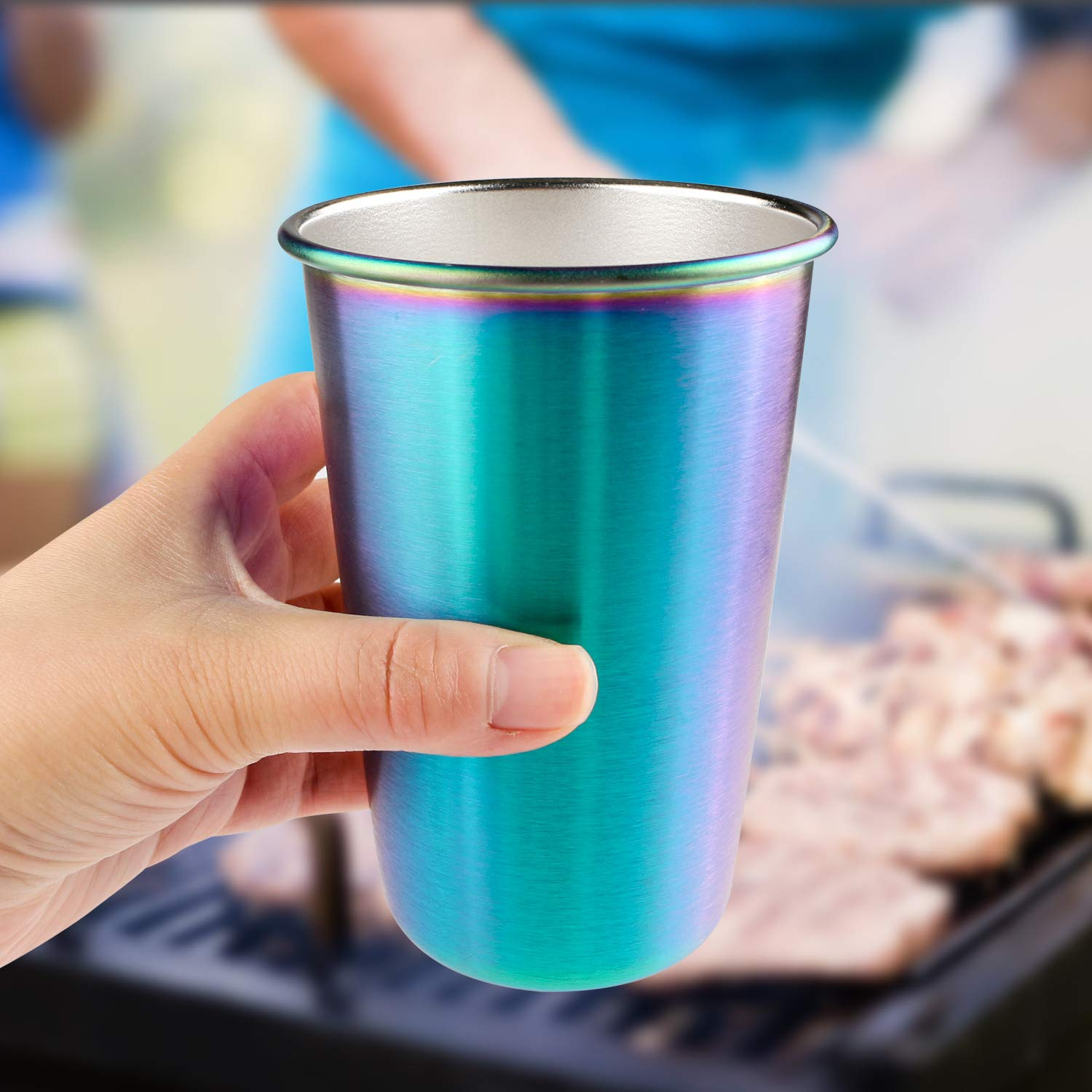 Rainbow Party Cups, Kereda Stainless Steel Cups 16oz 5-Pack Premium Drinking Glasses Unbreakable Colorful Tumblers BPA Free Eco Friendly by KEREDA (Image #9)