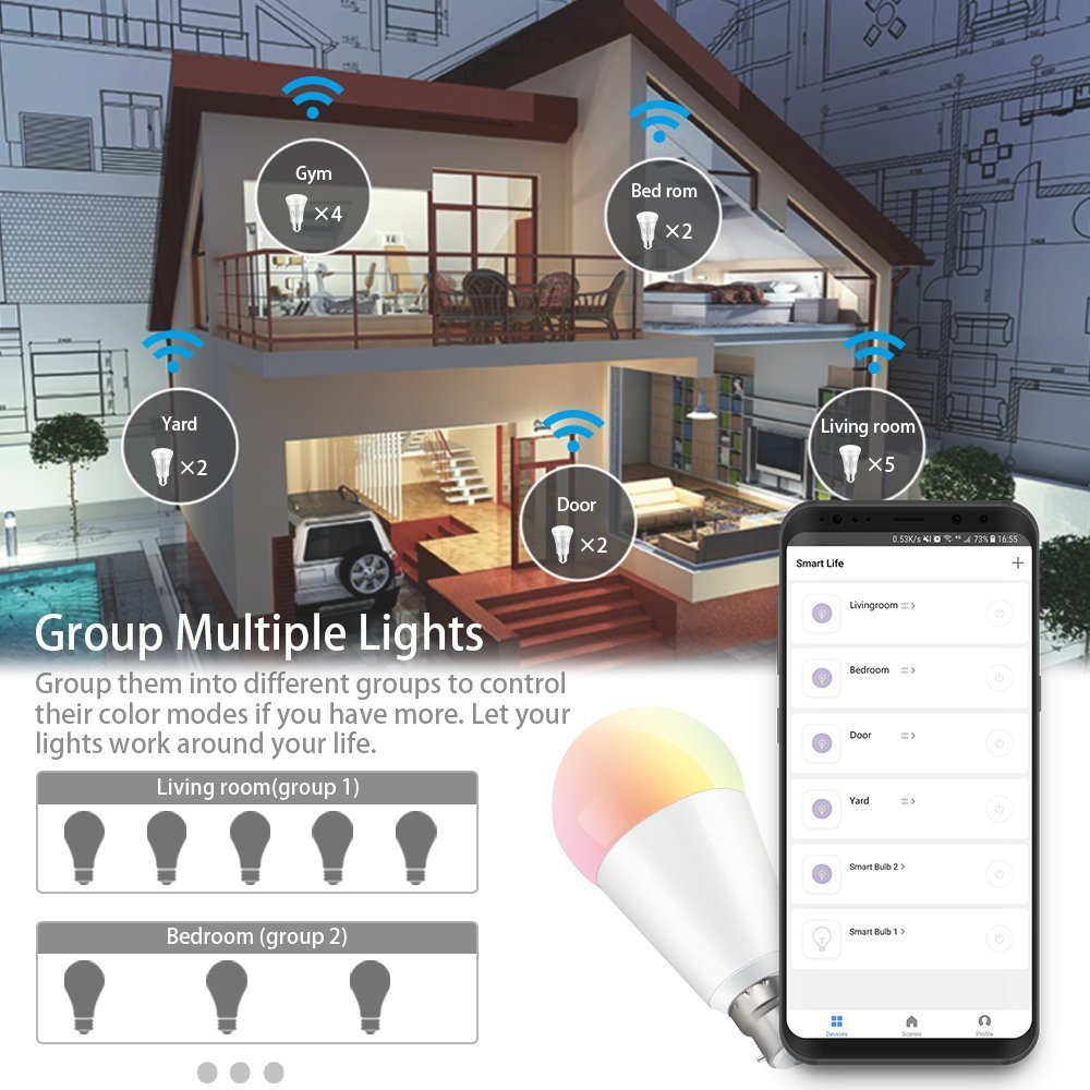 WiFi Smart Light Led Bulb B22 Bayonet, 7W RGBW Dimmable Tunable 60W Equivalent, Voice Control with Amazon Alexa & Google Assistant, Remote Control by Smartphone iOS & Android, No Hub Required, 2Pcs