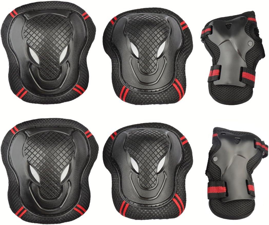 膝肘手首保護パッドセット、CoastaCloud 6pcs Kid 'sインラインスケートRoller Blading保護ガードギアパッドセットの子の自転車、スケートボード、スクーター、乗馬用  M