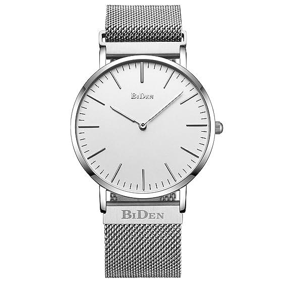 Relojes, para hombre Mujer Unisex Reloj analógico de cuarzo resistente al agua, banda de diseño sencillo reloj de pulsera con cierre magnético plateado: ...