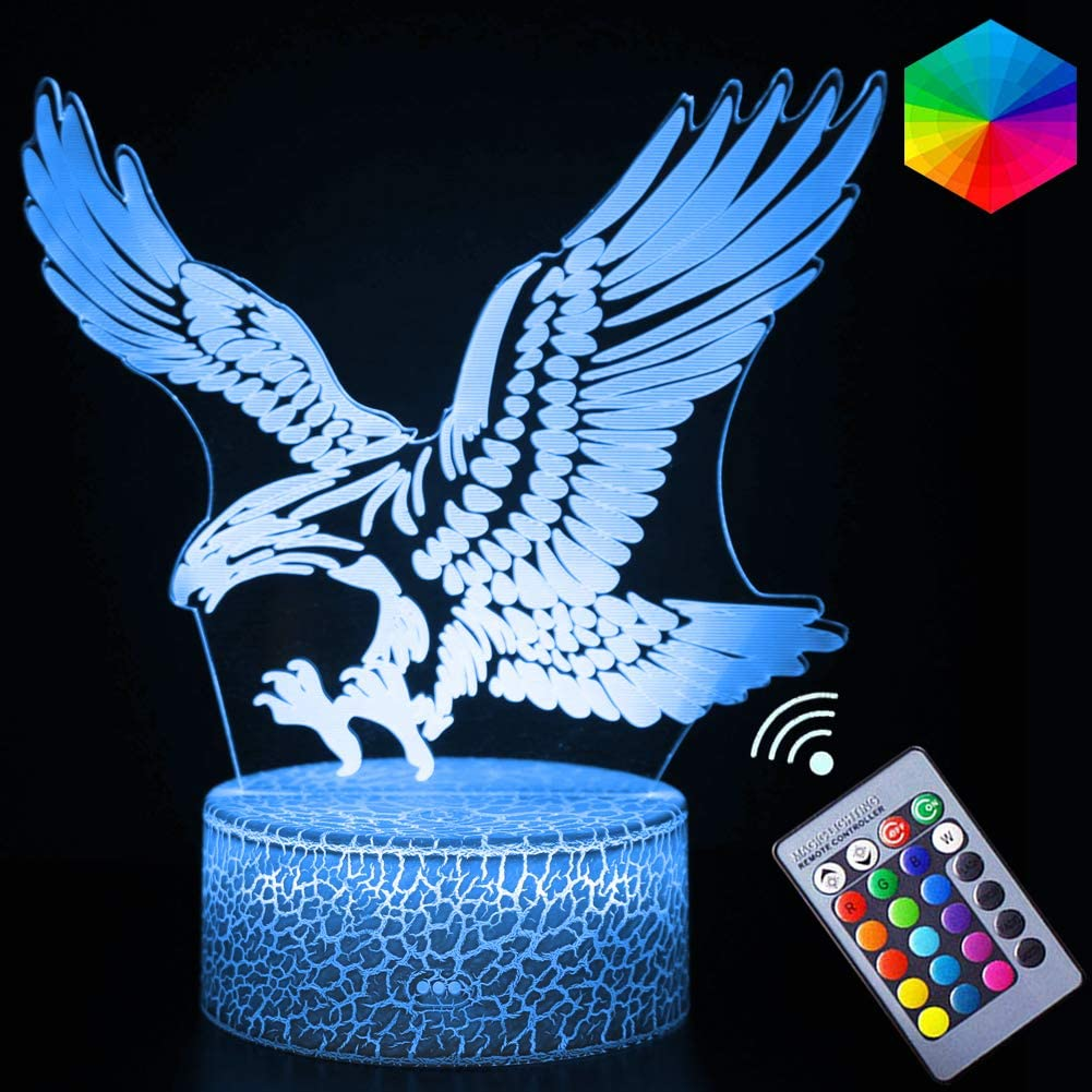 3D Eagle Night Light LED Colors Changeing Lamps Remote Control Illusion Lamps Animal Series Christmas Light Gifts for Kids Boys Teen(Eagle)