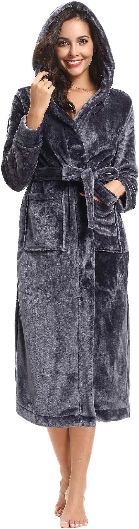 Hawiton Womens Long Robe Winter Hooded Bathrobe Loungewear Nightgown with Pockets