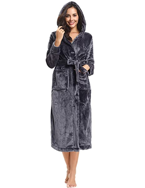 Hawiton Womens Long Robe Winter Hooded Bathrobe Loungewear Nightgown with Pockets