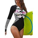 AZOKOE Womens Summer Beach Printed Zip Front Maillot One Piece Swimsuit Swimwear
