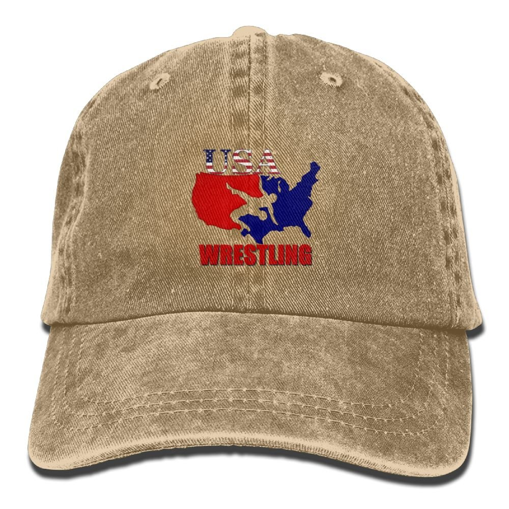 Arsmt USA Wrestling Denim Hat Adjustable Men's Plain Baseball Hat by Arsmt