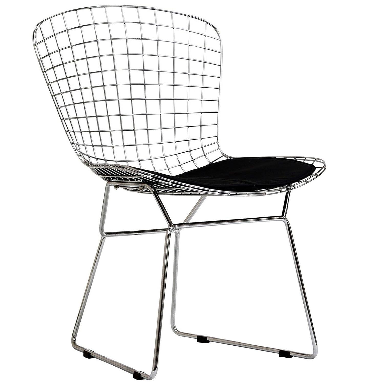 Bertoia diamond chair black - Amazon Com Modway Bertoia Style Side Chair With Black Cushion Chairs