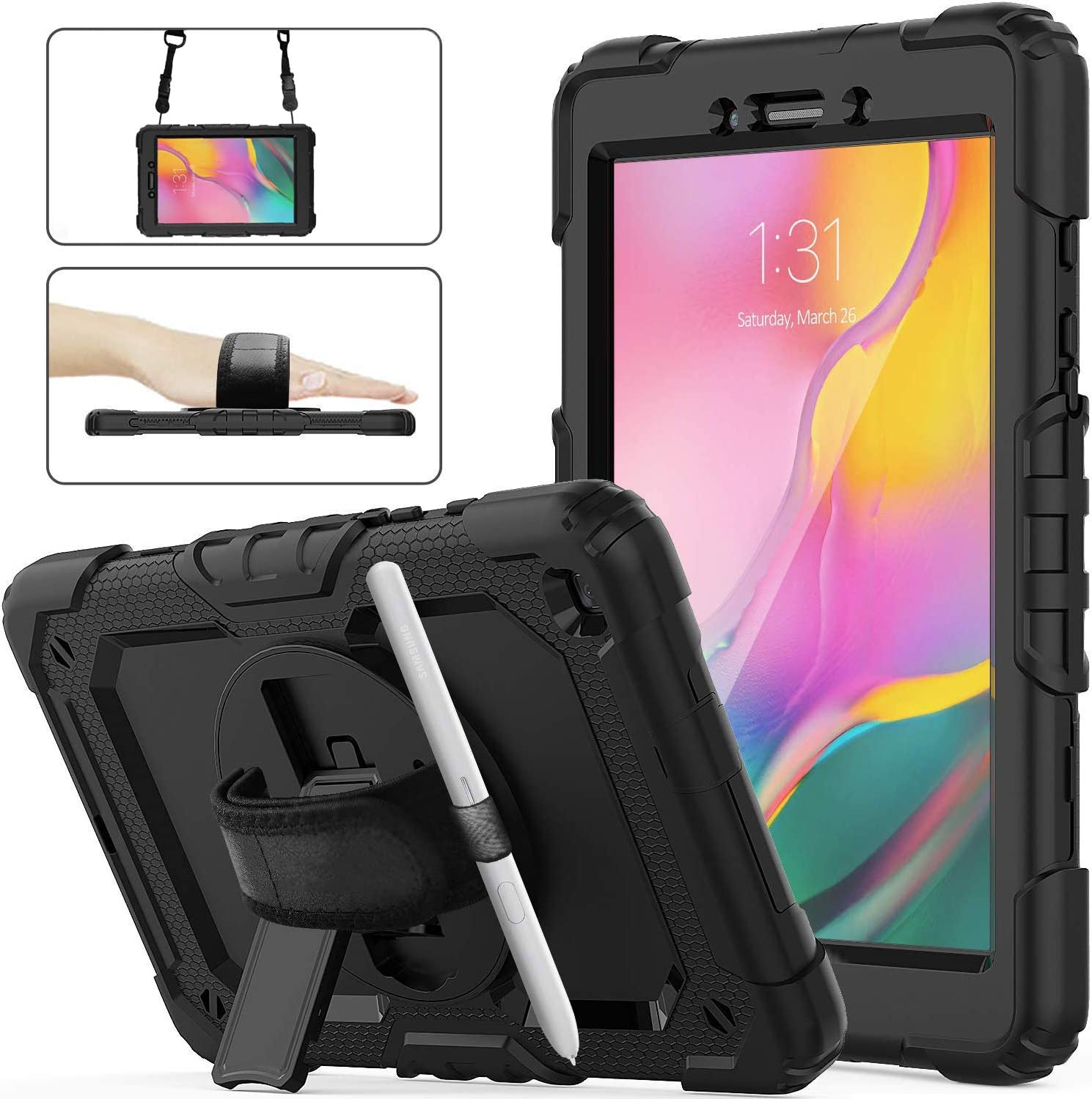 Galaxy Tab A 8.0 Case 2019 with Screen Protector, SM-T290/T295 Case, Herize Heavy Duty Rugged Shockproof Protective Case Cover with Pencil Holder/Hand Strap/Shoulder Strap for Samsung Tab A 8.0 Inch