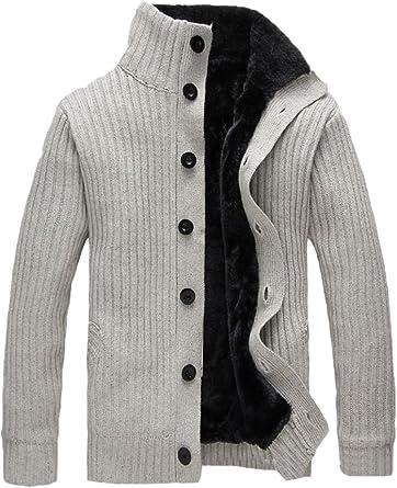 Vogstyle Homme Pull Cardigan Hiver Épais Manteau Tricotée Slim Fit Chaud  Gilet: Amazon.fr: Vêtements et accessoires