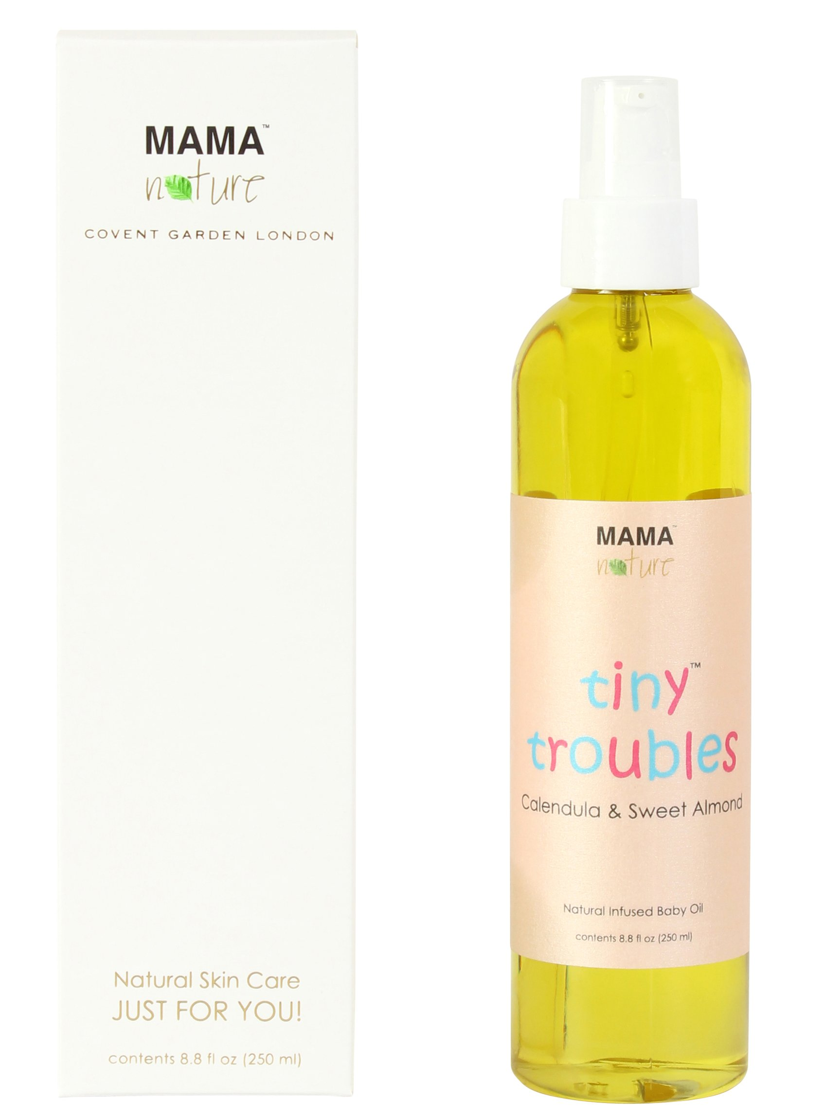 Tiny Troubles Natural Infused Baby Oil (Calendula & Sweet Almond) by Mama Nature of London (8.8 fl oz) - Cradle Cap,Diaper Rash,Baby Eczema,Baby Psoriasis,Baby Rosacea,Dry Skin,Sweat Rash by Mama Nature of London