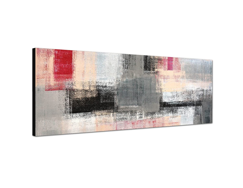 Augenblicke Wandbilder Quadro murale 150x 50cm Stampe d' arte pittura astratta grigio rosso giallo bianco