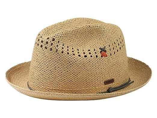 dcba9678651 Kangol Men's Vented Tan Straw Player Trilby Hat Sz: S: Amazon.co.uk ...