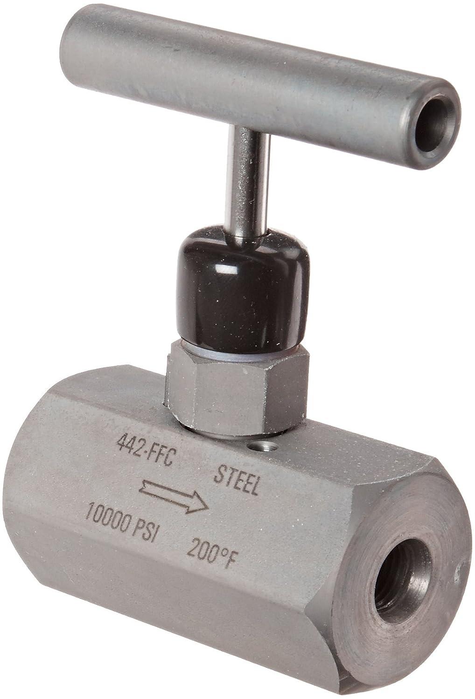 NOSHOK 400 Series Steel Hard Seat Needle Valve, 1/4' NPT Male x 1/4' NPT Female, 10000 psi Pressure Range