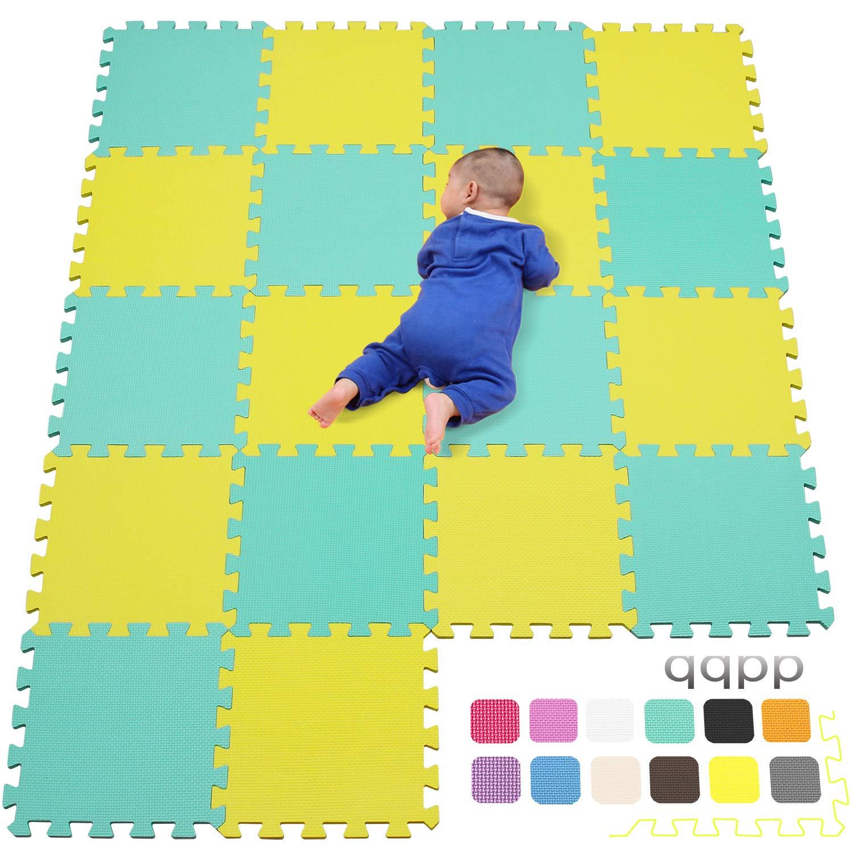30*30*1cm qqpp Alfombra Puzzle para Ni/ños Bebe Infantil Suelo de Goma EVA Suave Amarillo /& Verde.QQC-EHb18N 18 Piezas