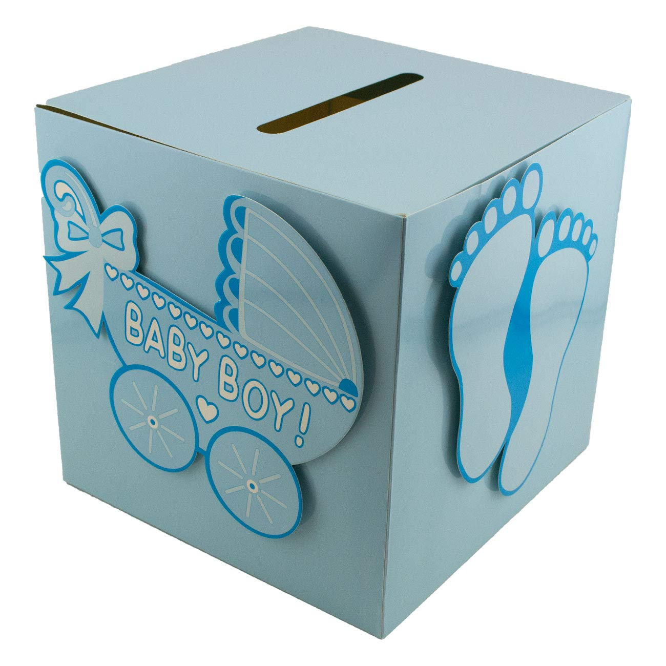 Adorox Blue Girl Baby Shower Wishing Well Card Box Decoration Cute Pretty Keepsake Carriage Rattle