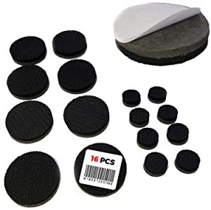 """Non Slip Furniture Pads - Self Adhesive 16 Round Pieces - Qty 8 of 1"""" Pieces and Qty 8 of 1/2"""" Pieces - Premium Solid Felt with Anti Slip Rubber (16 Pieces)"""