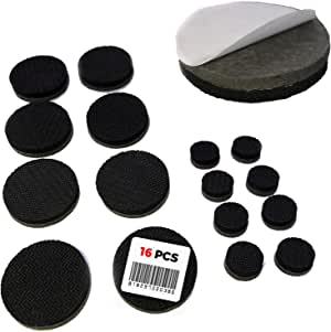 "Non Slip Furniture Pads - Self Adhesive 16 Round Pieces - Qty 8 of 1"" Pieces and Qty 8 of 1/2"" Pieces - Premium Solid Felt with Anti Slip Rubber (16 Pieces)"