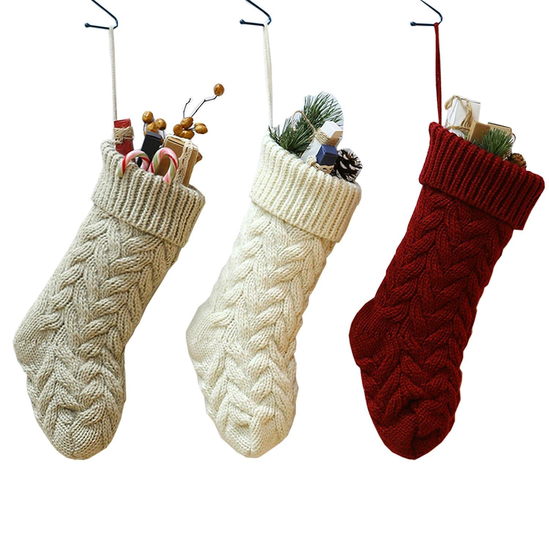 Amazon Sherrydc Crochet Cable Knit Christmas Stockings 15