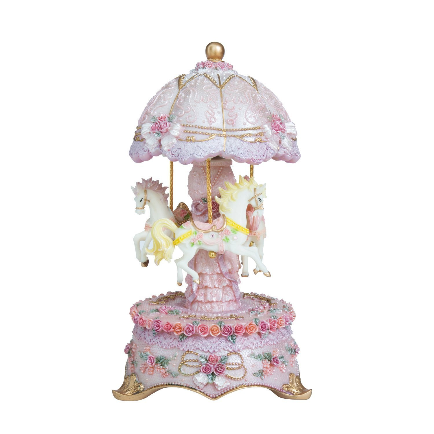 65%OFF【送料無料】 Cimogifts Luxury Colour Light Change LED Cimogifts Colour Light Luminous Rotating 3-horse Carousel Musical Box,Pink B01LH3INZM, ムツザワマチ:4dac0979 --- arcego.dominiotemporario.com