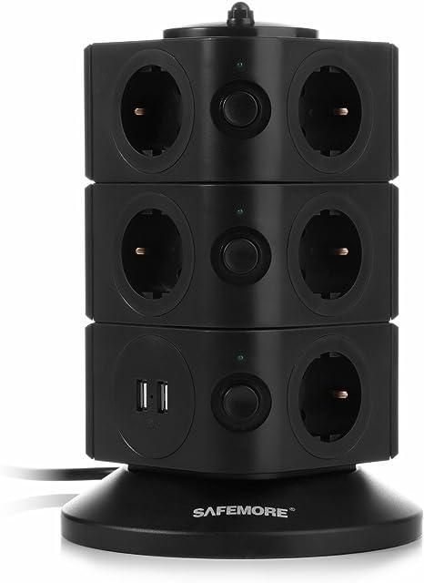 5V 2,1A Interrupteur dalimentation Adaptateur Douille 2500W//10A SAFEMORE Tour Multiprise avec 11 Prises de Recharge et 2 Ports USB Noir Noir