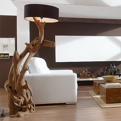 Standlampe Teak Wurzelholz RIAZ XL 200cm | Stehlampe Holz Treibholz groß |  Teakholz Lampe Handarbeit mit Lampenschirm | Außergewöhnlich Standleuchte  ...