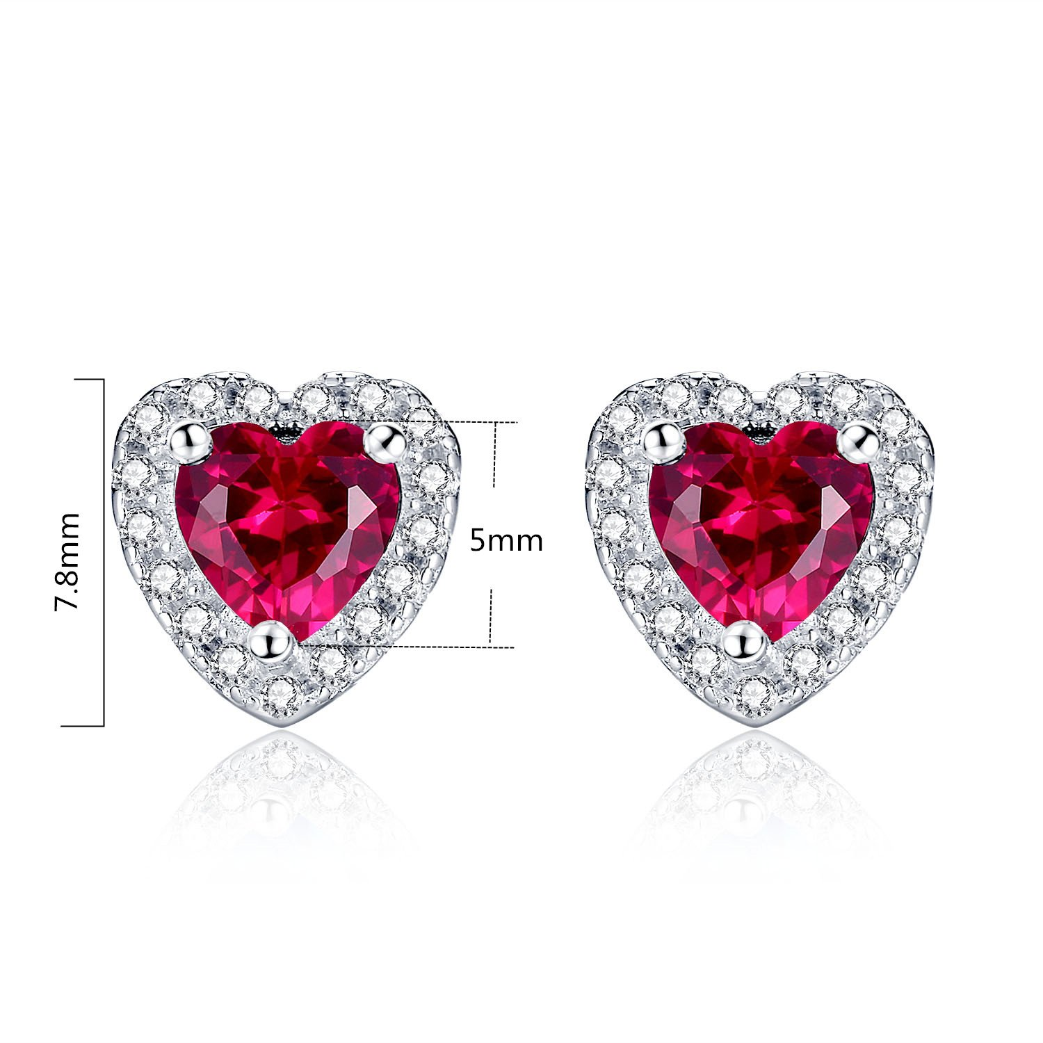 Mabella Sterling Silver Heart Jewelry Sets 7 CTW Simulated Ruby Pendant Earrings Set, Gifts for women by MABELLA (Image #4)