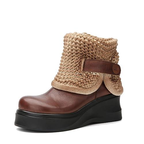 Botas de Moda para Mujer con Plataforma y tacón de cuña Botines de Cuero Vintage pulidos Zapatos Tejidos a Mano: Amazon.es: Zapatos y complementos