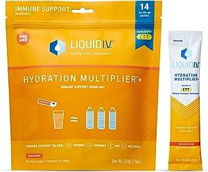Liquid I.V. Hydration Multiplier + Immune Support, Easy Open Packets, (Natural Tangerine Flavor, 14 Count)