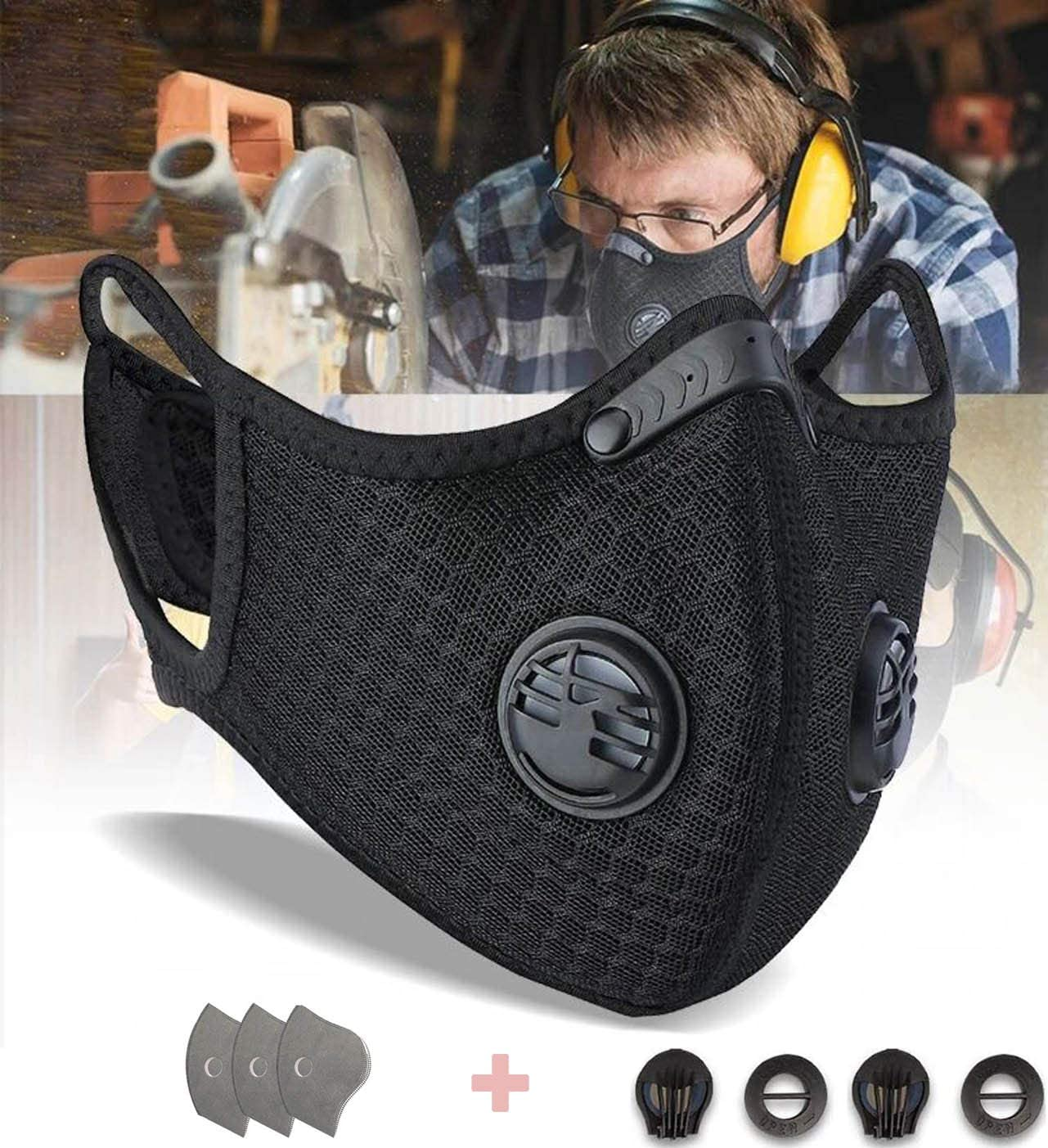 DZT1968 PM2.5 Premium Anti-Pollution Mask & Neck Gaiter Face Scarf Cover Mask for Men Women - Safest Guard for Cycling Reusable Dust Mask for Woodworking Running Sanding Mowing Half Mask