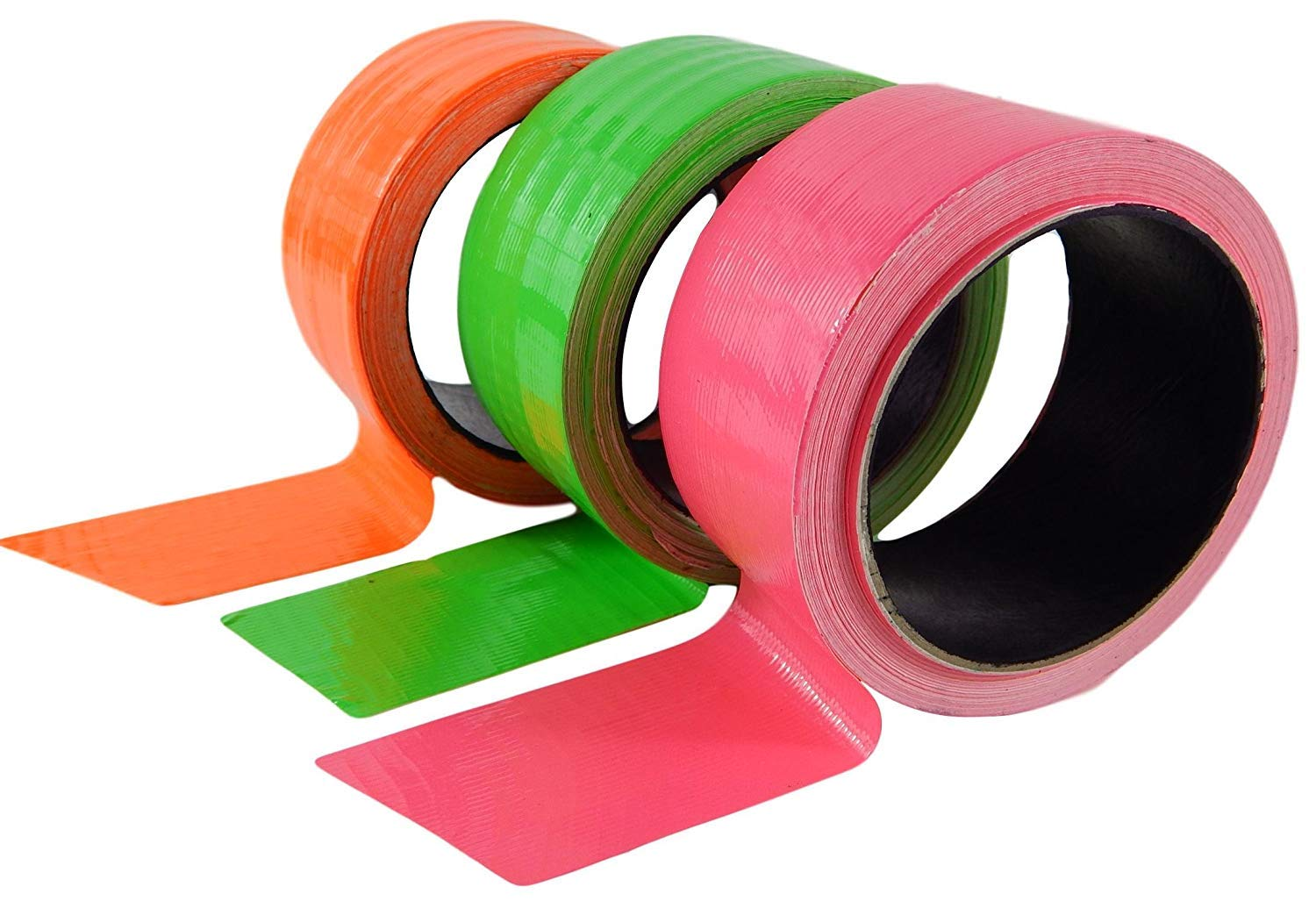 Tape All Duct Tape Colors 3-Pack Bundle Made in USA Total 135 Feet Hot Pink Hot Green Hot Orange