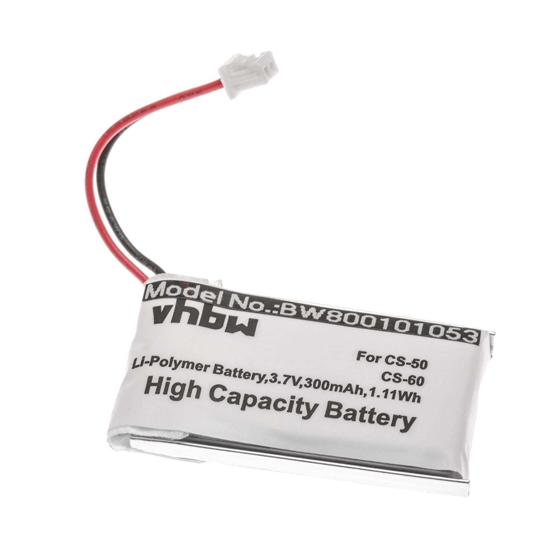 Bater/ía Li-Polymer vhbw 300mAh 3.7V C65 653580 CS60 C351N para Auriculares Headset Plantronics CS510 CS520 CS361N como 64327-01 CS351N