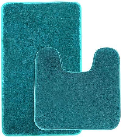 Microfiber 2 Pieces Aquatic Blue /& Beige Bathroom Bath Rug Pedestal Mat Set