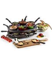 Oneconcept Woklette Raclette Grill • Grill de sobremesa • Barbacoa-Party • 1200 W • Temperatura Regulable • 8 x Mini-sartenes y espátulas de Madera • 6 x Mini -Wok • Antiadherente • Negro