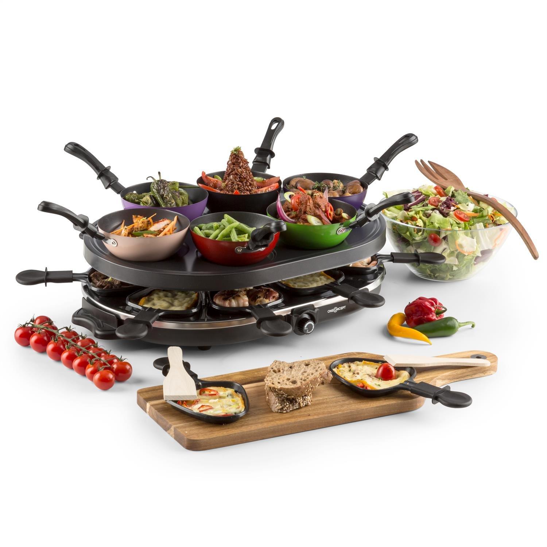 oneConcept Woklette Raclette Grill • Grill da tavola • Griglia feste • 1200 W • Temperatura regolabile continua • 8 padelle e spatola in legno • 6 x mini wok • rivestimento antiaderente • nero