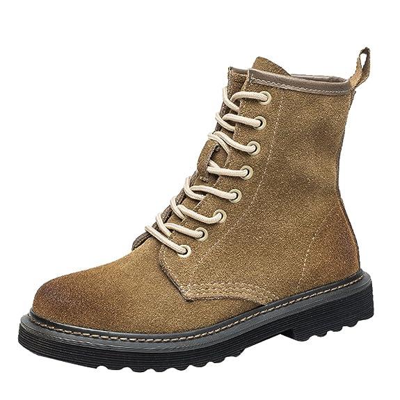 Yiiquan Damen Klassisch Martin Stiefel Kunstleder Winter Schnürsenkel Stiefeletten Schuhe (Schwarz, CN 35/EU 34)