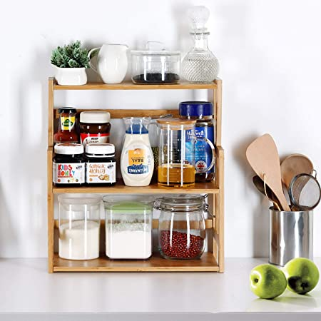 Costway 3-Tier Bamboo Spice Rack Kitchen Bathroom Storage Organizer with Shelf