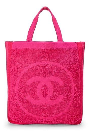 9e2b349e17fe Amazon.com: CHANEL Pink Terry Cloth 'CC' Tote (Pre-Owned): Shoes