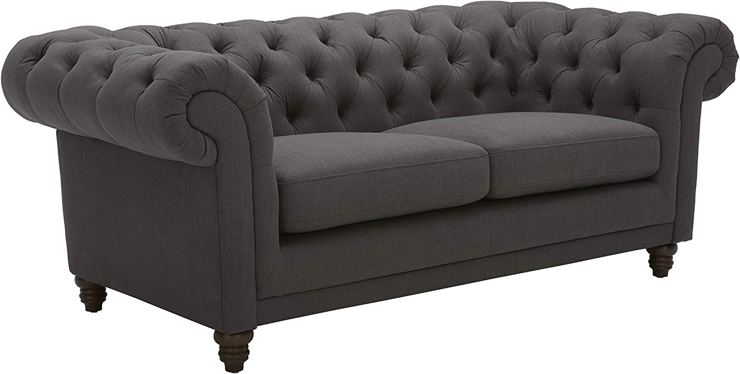 "Stone & Beam Bradbury Chesterfield Tufted Loveseat Sofa Couch, 78.7""W, Pepper"