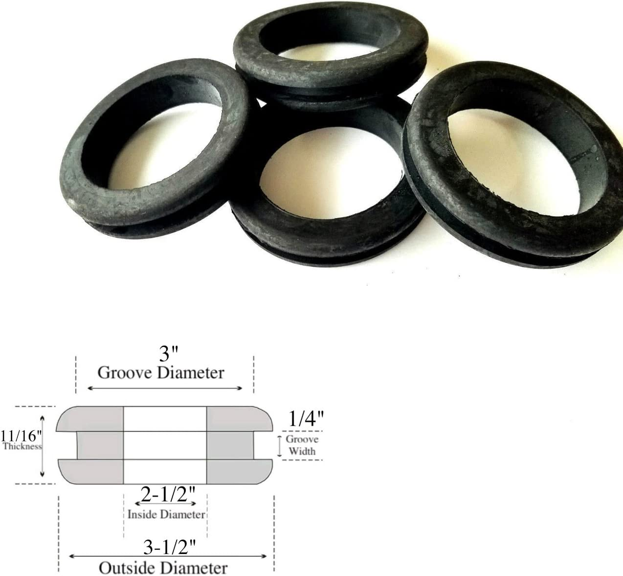 Fits 1-3//4 Panel Hole Lot of 24 Rubber Grommets 1-1//2 Inside Diameter