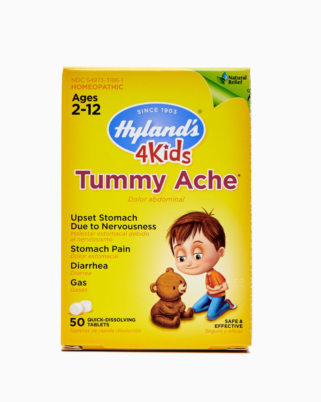 Hyland's 4 Kids Tummy Ache Tablets, Natural Relief of Upset Stomach, Diarrhea and Gas for Kids, 50 Count