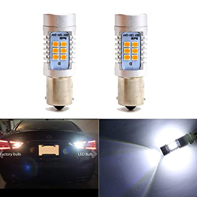 Backup Light 1156 1156A 1156NA 87 93 97 97A 97NA Reverse Lights Bulbs with 21 SMD Xenon White LED 2835 Chips Side Marker Light Daytime Running Light (Set of 2): Automotive