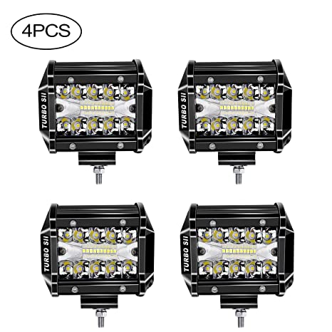 "LED Light Pods,TURBOSII 4Pcs 4"" 60W Triple Row Led Light Bar Led Cubes"